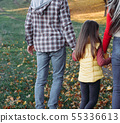fall leisure parents daughter walking nature park 55336613
