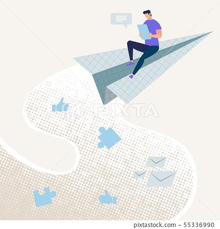 Bright Flyer Easy Access Online Cartoon Flat.  55336990