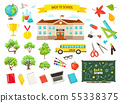 school objects vector collection 55338375