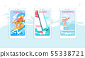 Surfing, Sailing, Swimming Mobile App Pages Set 55338721