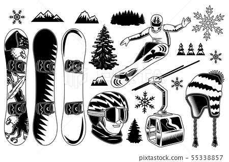 Set of snowboard elements 55338857