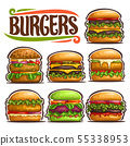 Vector set of fresh Burgers 55338953