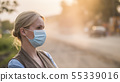 A woman in a gauze bandage is on a dusty road. Environment and ecology concept 55339016