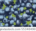 Beautiful blueberry Background. 3d fresh realistic berry. Macro texture blueberry with green leaft 55340490