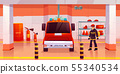 Firefighter man stand near fire engine in garage 55340534