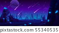 Meteor rain at night sky, neon space background 55340535