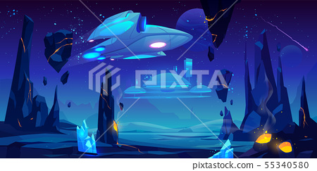 Spaceship, interstellar station on alien planet 55340580