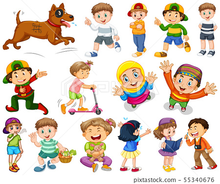Kids in large group acting our varoous roles 55340676
