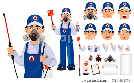 Pest control worker in protective workwear 55340872