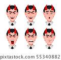Devil emotions. Various facial expressions 55340882