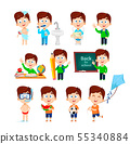 Cute boy, set of eleven poses 55340884