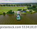 Aerial view of ferry at the Vistula river mouth to 55341810