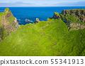Aerial view of Mykines island in Faroe Islands, 55341913