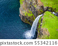 Aerial view of Mulafossur waterfall in Gasadalur 55342116