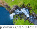 Aerial view of Mulafossur waterfall in Gasadalur 55342119