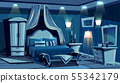 Bedroom in night with lamps light 55342179