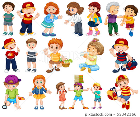 Kids in large group acting our varoous roles 55342366