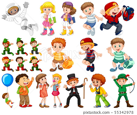 Kids in large group acting our varoous roles 55342978