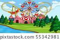 Amusement park scene with river 55342981