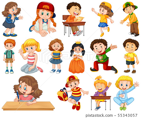 Kids in large group acting our varoous roles 55343057