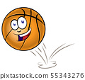 Bouncing basketball cartoon isolated on white 55343276