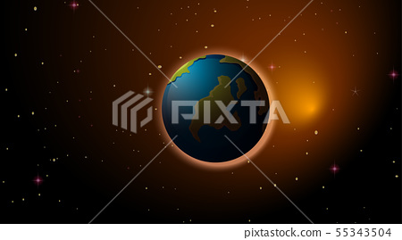 Earth in space background 55343504