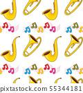 Seamless pattern tile cartoon with sax, trumpet 55344181
