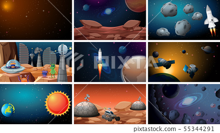 Set of space backgrounds 55344291