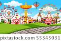 outdoor scene with amusement park 55345031