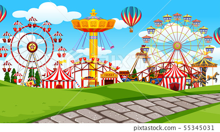 outdoor scene with amusement park 55345031