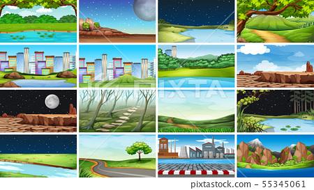 Huge set of nature, urban, factory and rural 55345061