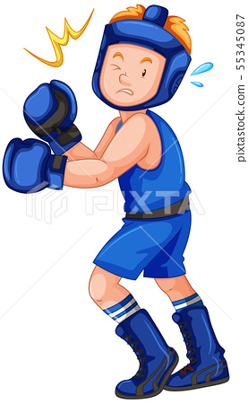 Knockout punch to a boxer isolated 55345087