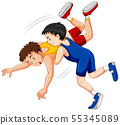 Two boys fighting judo wrestling on sport 55345089