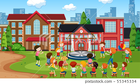Active kids playing in outdoor scene 55345334