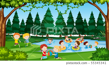Active kids playing in outdoor scene 55345341