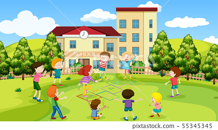 Active kids playing in outdoor scene 55345345
