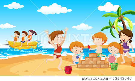 Active kids playing in outdoor scene 55345346