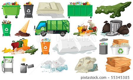 Pollution, litter, rubbish and trash objects 55345385