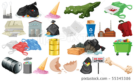 Pollution, litter, rubbish and trash objects 55345386