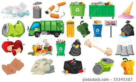 Pollution, litter, rubbish and trash objects 55345387
