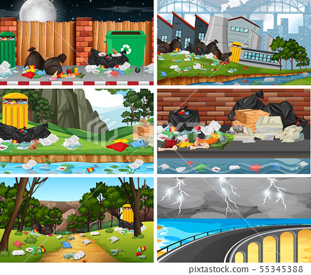 Set of polluted scenes 55345388