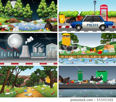 Set of polluted scenes 55345389