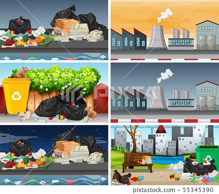 Set of polluted scenes 55345390