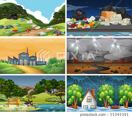 Set of polluted scenes 55345391