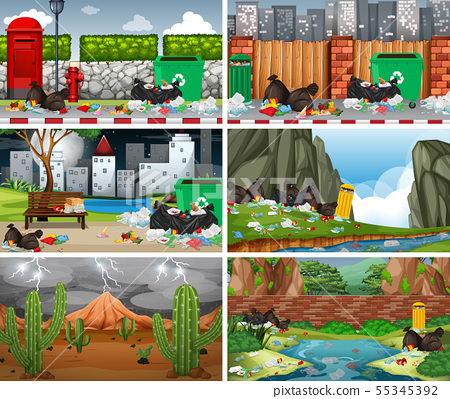Set of polluted scenes 55345392