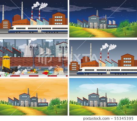 Set of polluted scenes 55345395