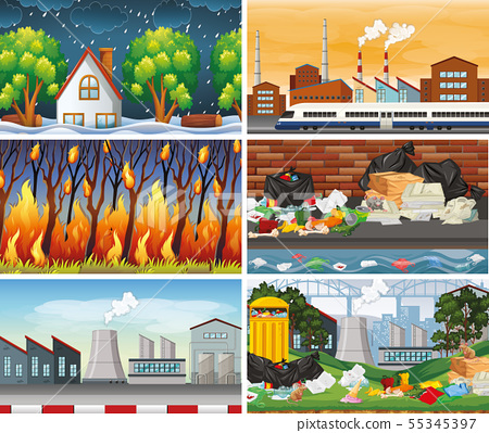Set of polluted scenes 55345397