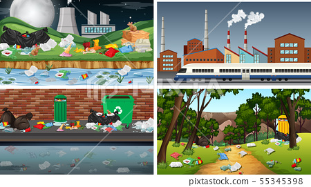 Set of polluted scenes 55345398