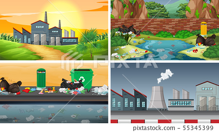 Set of polluted scenes 55345399