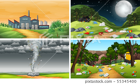 Set of polluted scenes 55345400